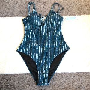 Cupshe 1 piece patterned bathing suit size Large